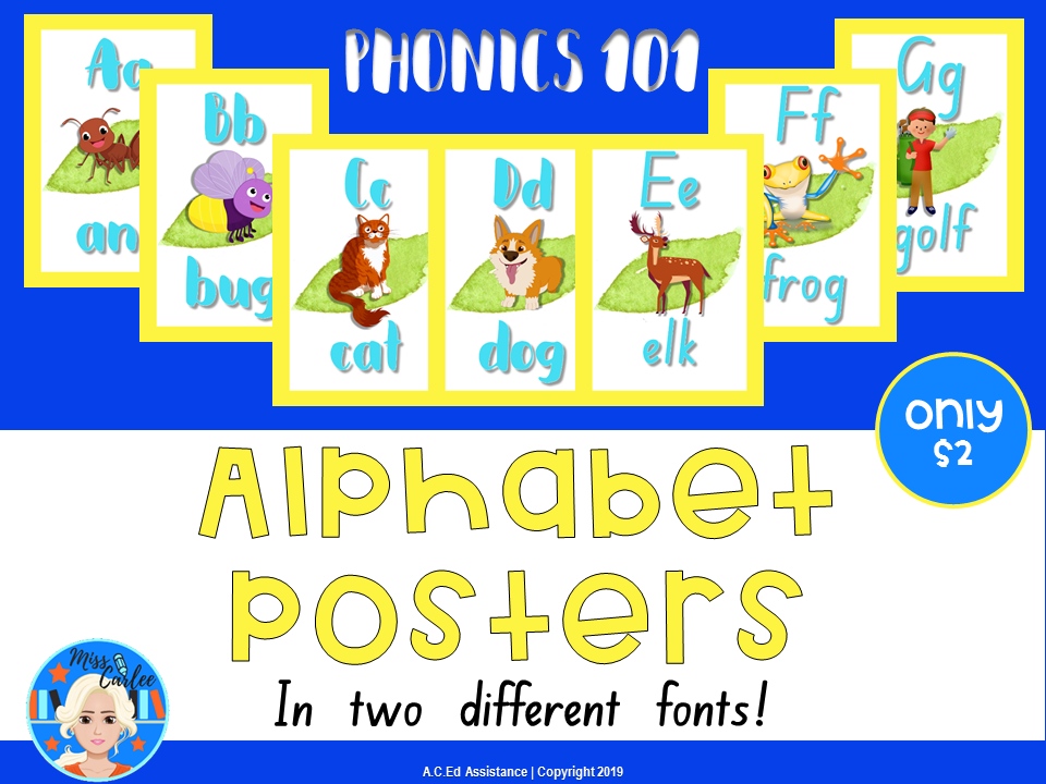 Phonics Alphabet Reading Posters for Beginning Readers